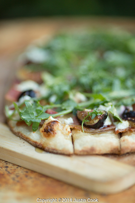 Flat bread with fig, goat chess, arugula, country ham and lavender honey at Farm Table in Wake Forest, N.C. on Wednesday, September 17, 2014. (Justin Cook)