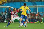 (L to R) <br /> Ivan Rakitic (CRO), <br /> Oscar (BRA), <br /> JUNE 12, 2014 - Football /Soccer : <br /> 2014 FIFA World Cup Brazil <br /> Group Match -Group A- <br /> between Brazil 3-1 Croatia <br /> at Arena de Sao Paulo, Sao Paulo, Brazil. <br /> (Photo by YUTAKA/AFLO SPORT)
