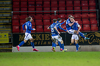 12th February 2020; McDairmid Park, Perth, Perth and Kinross, Scotland; Scottish Premiership Football, St Johnstone versus Motherwell; Chris Kane of St Johnstone celebrates after scoring for 2-1 in the 92nd minute with Jason Kerr