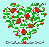 Kate, CHRISTMAS SYMBOLS, WEIHNACHTEN SYMBOLE, NAVIDAD SÍMBOLOS, paintings+++++Christmas page 85,GBKM225,#xx# ,red robin ,hearts