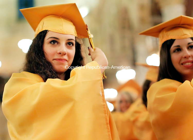 Waterbury, CT-04, June 2010-060410CM15  Sacred graduate and valedictorian, Julie Anna Donato turns her tassel, as part of tradition at the graduation ceremony Friday evening at the Immaculate Conception church in downtown Waterbury. --Christopher Massa Republican-American