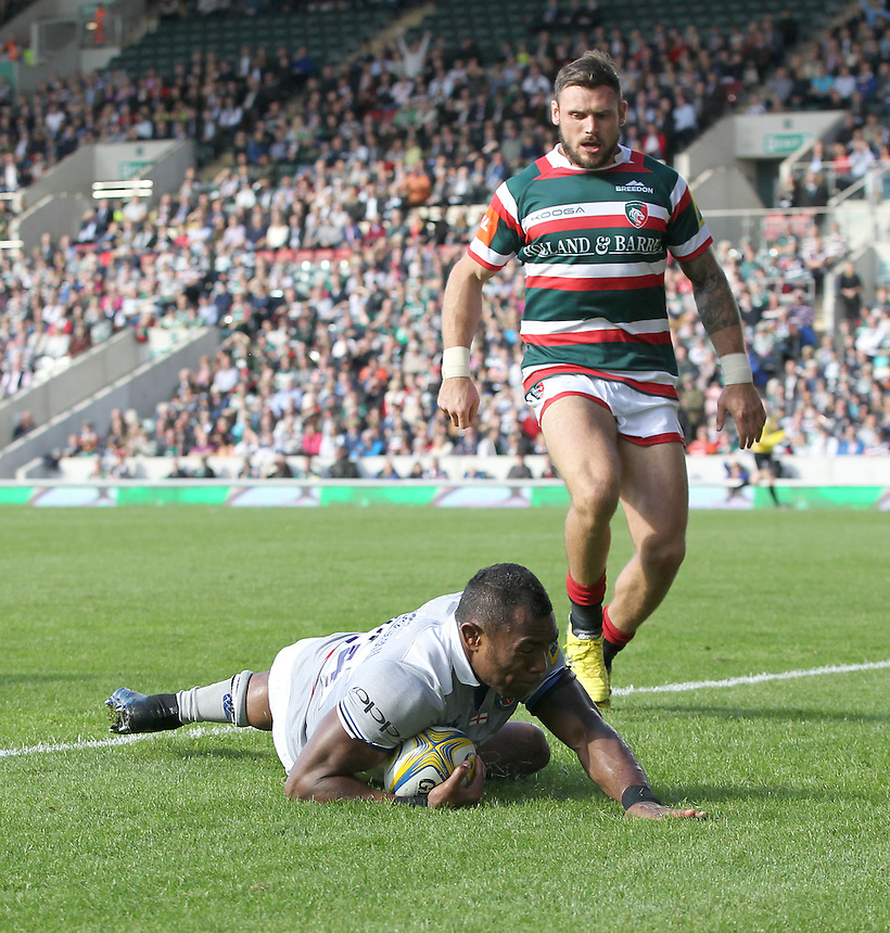 Semesa Rokoduguni of Bath Rugby scores his sides first try<br /> <br /> Photographer Rachel Holborn/CameraSport<br /> <br /> Aviva Premiership - Leicester Tigers v Bath - Sunday 25th September 2016 - Welford Road - Leicester <br /> <br /> World Copyright &copy; 2016 CameraSport. All rights reserved. 43 Linden Ave. Countesthorpe. Leicester. England. LE8 5PG - Tel: +44 (0) 116 277 4147 - admin@camerasport.com - www.camerasport.com