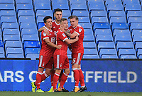 Ben Osborn of Nottingham Forest celebrates scoring with team during the Sky Bet Championship match between Sheffield Wednesday and Nottingham Forest at Hillsborough, Sheffield, England on 9 September 2017. Photo by Leila Coker / PRiME Media Images.