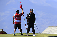 Kiradech Aphibarnrat (THA) sinks his putt on the 7th green during Saturday's Round 3 of the 2018 Omega European Masters, held at the Golf Club Crans-Sur-Sierre, Crans Montana, Switzerland. 8th September 2018.<br /> Picture: Eoin Clarke | Golffile<br /> <br /> <br /> All photos usage must carry mandatory copyright credit (&copy; Golffile | Eoin Clarke)