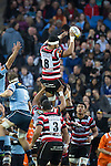 Sootala Fa'asoo'o claims lineout ball. The game of Three Halves, a pre-season warm-up game between the Counties Manukau Steelers, Northland and the All Blacks, played at ECOLight Stadium, Pukekohe, on Friday August 12th 2016. Photo by Richard Spranger.