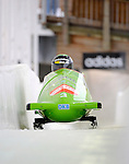 15 December 2007: Germany 2 pilot Cathleen Martini, with Janine Tischer on the brakes, head down the straightaway towards Turn 16 during their second run of the FIBT World Cup Bobsled Competition at the Olympic Sports Complex on Mount Van Hoevenberg, at Lake Placid, New York, USA. ..Mandatory Photo Credit: Ed Wolfstein Photo