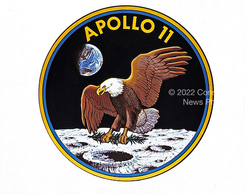 Houston, TX - (FILE) -- The official emblem of Apollo 11, the United States' first scheduled lunar landing mission unveiled on May 1, 1969. The Apollo 11 crew comprised astronauts Neil A. Armstrong, commander; Michael Collins, command module pilot; and Edwin E. Aldrin, Jr., lunar module pilot. It launched from the Kennedy Space Center in Florida on July 16, 1969.  Lunar landing on July 20, 1969. The crew ended on July 24, 1969. The National Aeronautics and Space Administration (NASA) insignia design for Apollo flights is reserved for use by the astronauts and for the official use as the NASA Administrator may authorize. Public availability has been approved only in the form of illustrations by the various news media. When and if there is any change in this policy, which we do not anticipate, it will be publicly announced..Credit: NASA via CNP