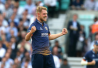 Jamie Porter of Essex celebrates taking the wicket of Nic Maddinson during Surrey vs Essex Eagles, Vitality Blast T20 Cricket at the Kia Oval on 12th July 2018