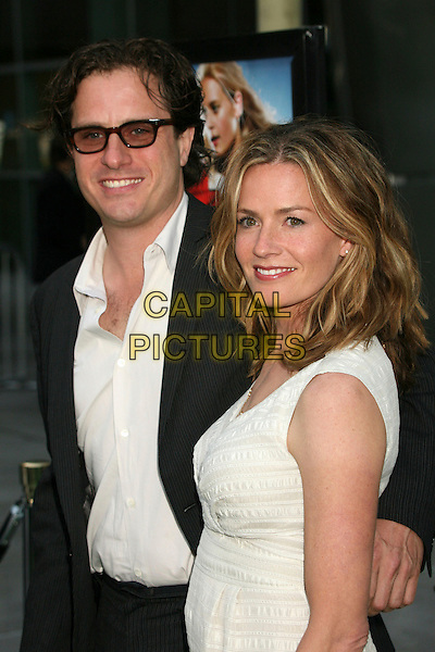 "DAVIS GUGGENHEIM & ELISABETH SHUE.""Gracie"" Los Angeles Premiere at ArcLight Theatres, Hollywood, California, USA..May 23rd, 2007.half length glasses black suit jacket elizabeth white cream sleeveless dress couple husband wife married .CAP/ADM/BP.©Byron Purvis/AdMedia/Capital Pictures"