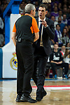 FC Barcelona Lassa's coach Georgios Bartzokas talking with referee Luigi Lamonica duringTurkish Airlines Euroleague match between Real Madrid and FC Barcelona Lassa at Wizink Center in Madrid, Spain. March 22, 2017. (ALTERPHOTOS/BorjaB.Hojas)