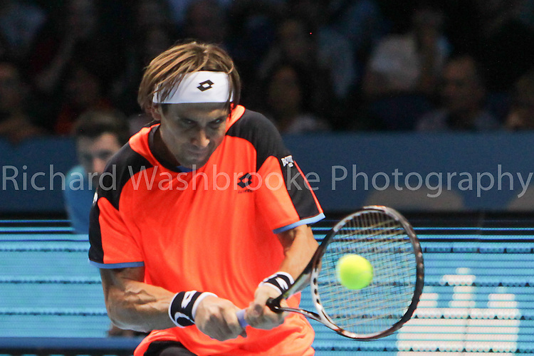 David Ferrer (ESP) beats Juan Martin DEL Potro (ARG)  6:3  3:6  6:4..Barclays ATP World Tour Finals 2012  O2 Arena .Photo: Richard Washbrooke Tennis Head