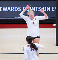 STANFORD, CA - November 4, 2018: Kathryn Plummer, Tami Alade at Maples Pavilion. No. 2 Stanford Cardinal defeated the Utah Utes 3-0.