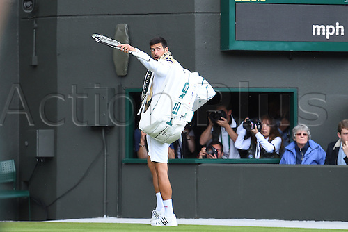 02.07.2016. All England Lawn Tennis and Croquet Club, London, England. The Wimbledon Tennis Championships Day Six.  Novak Djokovic (Ser) leaves the court and waves to the crowd as he loses to Sam Querrey (USA)