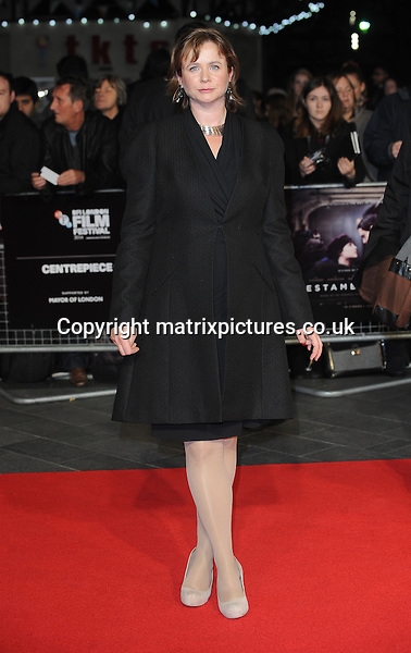 NON EXCLUSIVE PICTURE: PAUL TREADWAY / MATRIXPICTURES.CO.UK<br /> PLEASE CREDIT ALL USES<br /> <br /> WORLD RIGHTS<br /> <br /> English actress Emily Watson attending the 58th BFI London Film Festival Centrepiece Gala of Testament Of Youth, at Odeon Leicester Square in London.<br /> <br /> OCTOBER 14th 2014<br /> <br /> REF: PTY 144409