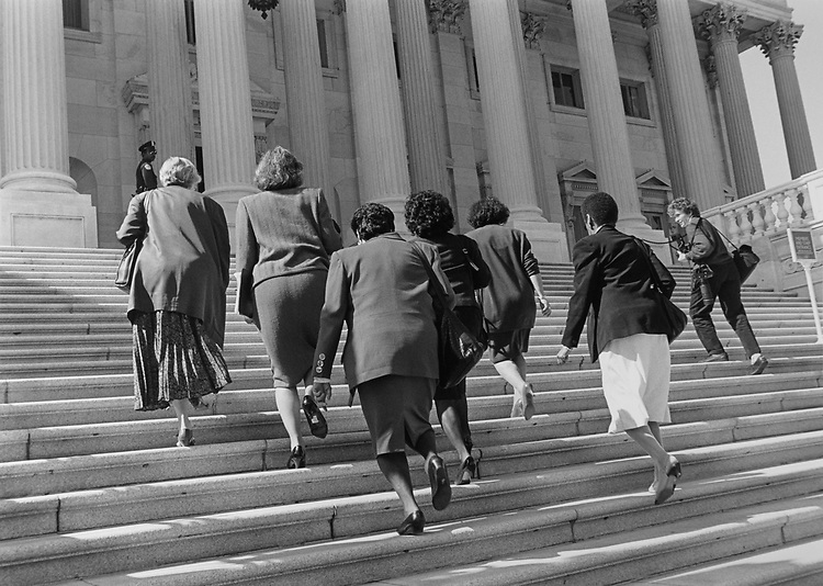 Women Members on the Capitol Hill in 1991. (Photo by Maureen Keating/CQ Roll Call via Getty Images)