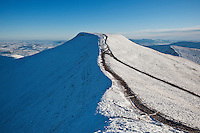 Pen Y Fan with winter snow viewed from Corn Du, Brecon Beacons national park, Wales