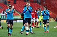 (L-R) Lewis Coyle, Cian Bolger and Ashley Hunter of Fleetwood Town applaud the fans during the Sky Bet League 1 match between Charlton Athletic and Fleetwood Town at The Valley, London, England on 17 March 2018. Photo by Carlton Myrie.