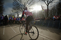 Jonathan Page (USA) to the start line<br /> <br /> 2014 UCI cyclo-cross World Championships, Elite Men