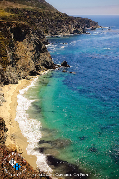 The steep and rugged cliffs and bluffs overlooking the coastline at Big Sur, California