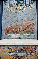 """Europe/France/Nord-Pas-de-Calais/59/Nord/Lille: Détail homard sur la mosaïque de la poissonnerie """"A l'Huitrière"""" rue des Chats Bossus"""