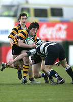R.B.A.I. winger Patrick Irwin on the attack during the Northern Bank Schools Cup Final at Ravenhill. Result Wallace 0pts R.B.A.I. 15pts.