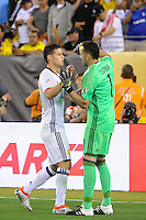 East Rutherford, NJ - Friday June 17, 2016: James Rodriguez, David Ospina during a Copa America Centenario quarterfinal match between Peru (PER) vs Colombia (COL) at MetLife Stadium.