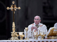 Pope Francis, during the Easter vigil mass in Saint Peter's Basilica, in the Vatican,.April 18,2014