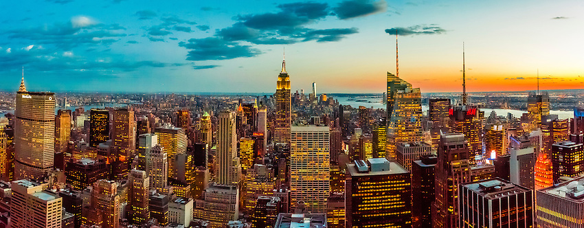 Panoramic view from Midtown Manhattan looking south to the Empire State Building (and behind it slightly to right is One World Trade Center), New York City, NY USA.
