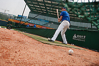 17 August 2007: Anthony Cros practices during the Good Luck Beijing International baseball tournament (olympic test event) at the Wukesong Baseball Field in Beijing, China.