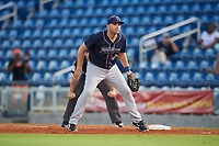 Jacksonville Jumbo Shrimp first baseman Eric Jagielo (25) during a game against the Pensacola Blue Wahoos on August 15, 2018 at Blue Wahoos Stadium in Pensacola, Florida.  Jacksonville defeated Pensacola 9-2.  (Mike Janes/Four Seam Images)