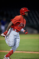 AZL Angels Julio De La Cruz (44) runs to first base during an Arizona League game against the AZL Cubs 1 on June 24, 2019 at Sloan Park in Mesa, Arizona. AZL Cubs 1 defeated the AZL Angels 12-0. (Zachary Lucy / Four Seam Images)