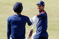 Ryan ten Doeschate of Essex greet Feroze Kushi prior to Essex CCC vs Kent CCC, Bob Willis Trophy Cricket at The Cloudfm County Ground on 2nd August 2020