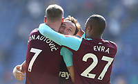 West Ham United's Mark Noble, Marko Arnautovic and Patrice Evra celebrate at the end of the game<br /> <br /> Photographer Rob Newell/CameraSport<br /> <br /> The Premier League - Leicester City v West Ham United - Saturday 5th May 2018 - King Power Stadium - Leicester<br /> <br /> World Copyright &copy; 2018 CameraSport. All rights reserved. 43 Linden Ave. Countesthorpe. Leicester. England. LE8 5PG - Tel: +44 (0) 116 277 4147 - admin@camerasport.com - www.camerasport.com