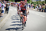 BMC Racing Team set the pace on the front of the peloton during Stage 5 of the 2018 Tour de France running 204.5km from Lorient to Quimper, France. 11th July 2018. <br /> Picture: ASO/Pauline Ballet | Cyclefile<br /> All photos usage must carry mandatory copyright credit (&copy; Cyclefile | ASO/Pauline Ballet)