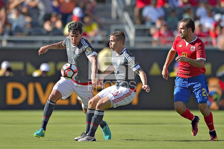 Action photo during the match Costa Rica vs Paraguay, Corresponding Group -A- America Cup Centenary 2016, at Citrus Bowl Stadium<br /> <br /> Foto de accion durante el partido Estados Unidos vs Colombia, Correspondiante al Grupo -A-  de la Copa America Centenario USA 2016 en el Estadio Citrus Bowl, en la foto: (i-d) Gustavo Gomez, Robert de Piris de Paraguay y Marcos Urena de Costa Rica<br /> <br /> <br /> <br /> 04/06/2016/MEXSPORT/Isaac Ortiz.