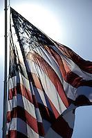 The American flag flies over Kansas Speedway.