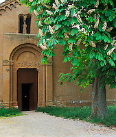 Tuscany, Italy, <br /> Pieve di Corsignagno (c.800-900) pre-Renaissance chapel near the town of Pienza