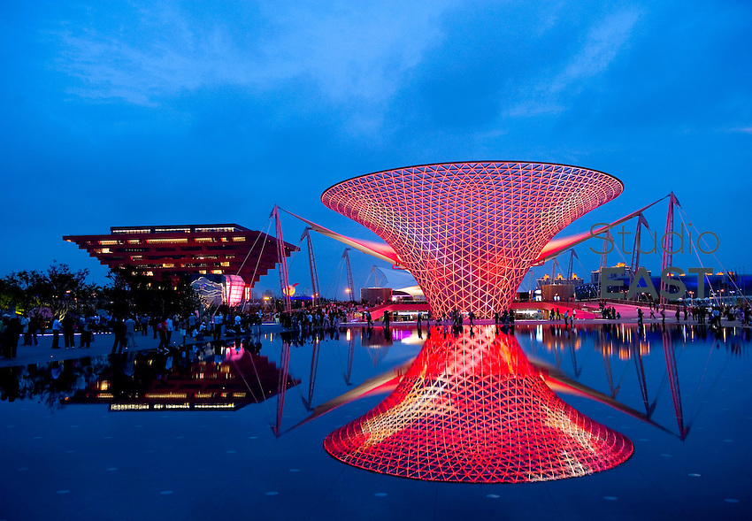 The Chinese Pavilion (left) and the Expo boulevard's illuminations are reflected in water on Shanghai World Expo 2010 site, in Shanghai, China, on June 3, 2010. Photo by Lucas Schifres/Pictobank
