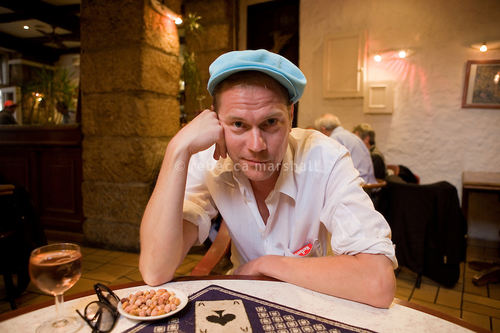 Per Hagman, Swedish author, poses for the photographer in bar Chez Michel, Nice, France, 11 May 2010