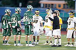 Placentia, CA 05/14/10 - The Mira Costa Captains (Nick de la Espriella (MC # 28), Cole Russert (MC # 15) and Conor Murphy (MC # 4)) and Foothill Captains (Taylor DeBerry (Foothill # 5), Tyler Ogata (Foothill # 41) and Tucker Rowe (Foothill # 16)) watch the coin toss at the start of the game.