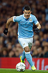 Sergio Aguero of Manchester City during the UEFA Champions League match at the Etihad Stadium. Photo credit should read: Philip Oldham/Sportimage