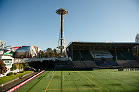 Seattle, WA - April 15th, 2017: Memorial Stadium during a regular season National Women's Soccer League (NWSL) match between the Seattle Reign FC and Sky Blue FC.