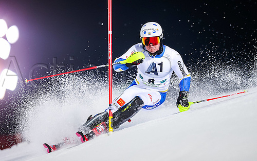 26.01.2016. Schladming, Ausria. FIS Mens Downhill slalom, Schladming World Cup. Mattias Hargin of Sweden competes during his 1st run of men s Slalom Race of Schladming FIS Ski Alpine World Cup at the Planai in Schladming, Austria on 2016/01/26.