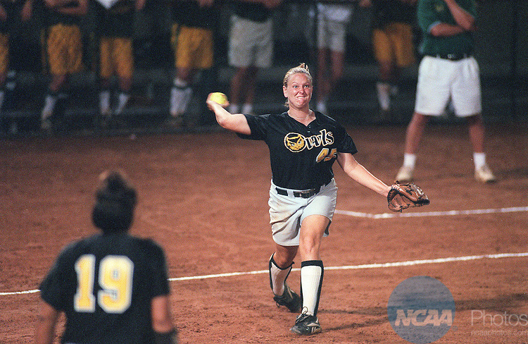 21 MAY 2000:  Third baseman Christine Hochdorfer (45) of Kennesaw State University makes an out with a throw to first baseman Heather Birch (19) against North Dakota State University during the Division 2 Women's Softball Championship held at South Commons Stadium in Columbus, GA.  North Dakota State University defeated Kennesaw State University 3-1 for the championship title.  Cathy Clarke/NCAA Photos