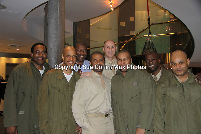 Cast L to R - Lamman Rucker, Thom Scott II, David Boykins, Layon Gray, David Roberts, Melvin Huffnagle - Back Row: Thaddeus Daniels & Steve Brustien - Layon Gray's Black Angels Over Tuskegee was performed on February 25, 2011 at the United States Memorial in Washington, DC to celebrate Black History Month. (Photo by Sue Coflin/Max Photos)