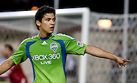 Fredy Montero asks the ball boy to grab the extra ball. The Seattle Sounders defeated the San Jose Earthquakes 1-0 in the second annual Heritage Cup at Buckshaw Stadium in Santa Clara, California on July 31st, 2010.
