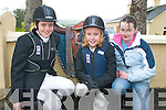 GALLOP: Young members about to gallop off in the Kerry Farmers Hunt Club Event in Cordal, on Sunday were l-r: Sasha Edwards (Castlemaine), Roisin Clifford (Faha) and Eaoife McSweeney (Milltown).   Copyright Kerry's Eye 2008