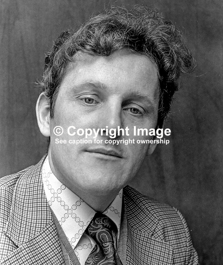 Sean Hollywood, SDLP, candidate, N Down, Constitutional Convention Election, N Ireland, May 1975. 197505010298b..Copyright Image from Victor Patterson, 54 Dorchester Park, Belfast, United Kingdom, UK...For my Terms and Conditions of Use go to http://www.victorpatterson.com/Victor_Patterson/Terms_%26_Conditions.html