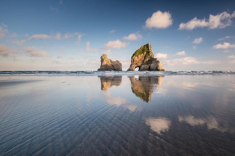 Sunrise, Wharariki Beach, Golden Bay, New Zealand - stock photo, canvas, fine art print