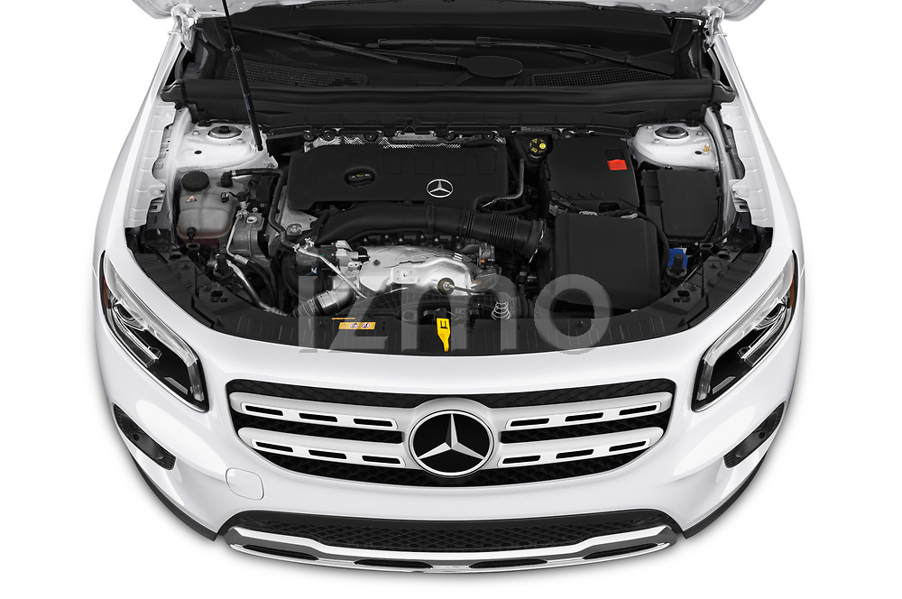 Car stock 2020 Mercedes Benz GLB GLB250 5 Door SUV engine high angle detail view